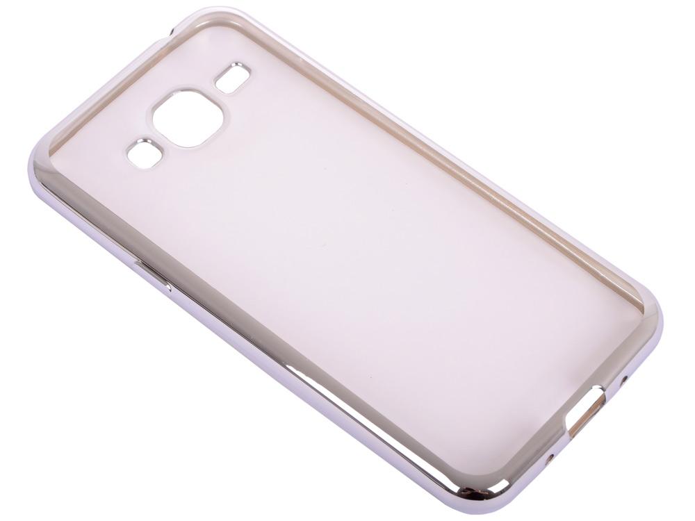 Силиконовый чехол с рамкой для Samsung Galaxy J3 (2016) DF sCase-28 (silver)