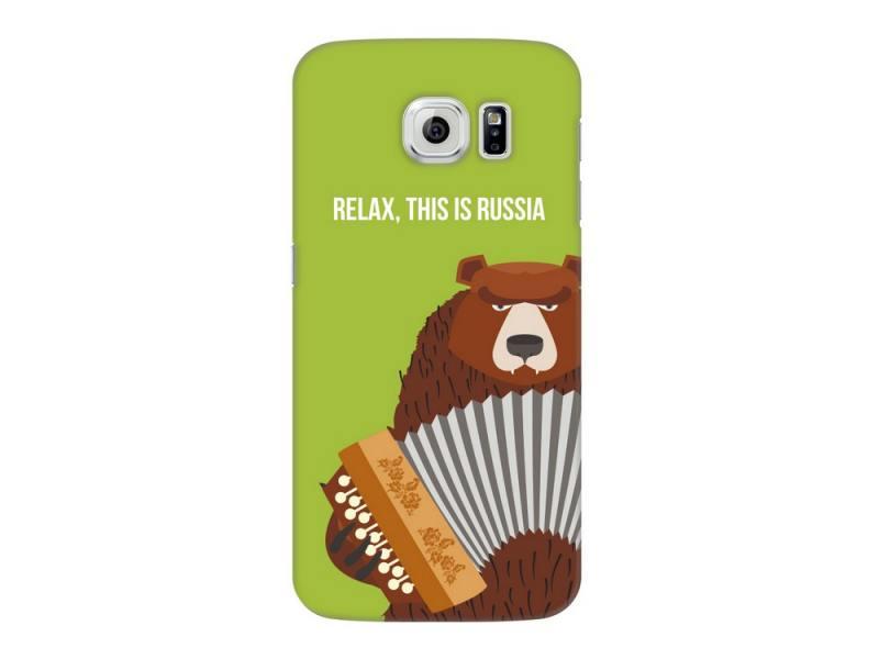 Чехол-накладка для Samsung Galaxy S6 Deppa Art Case Медведь гармонь клип-кейс, поликарбонат