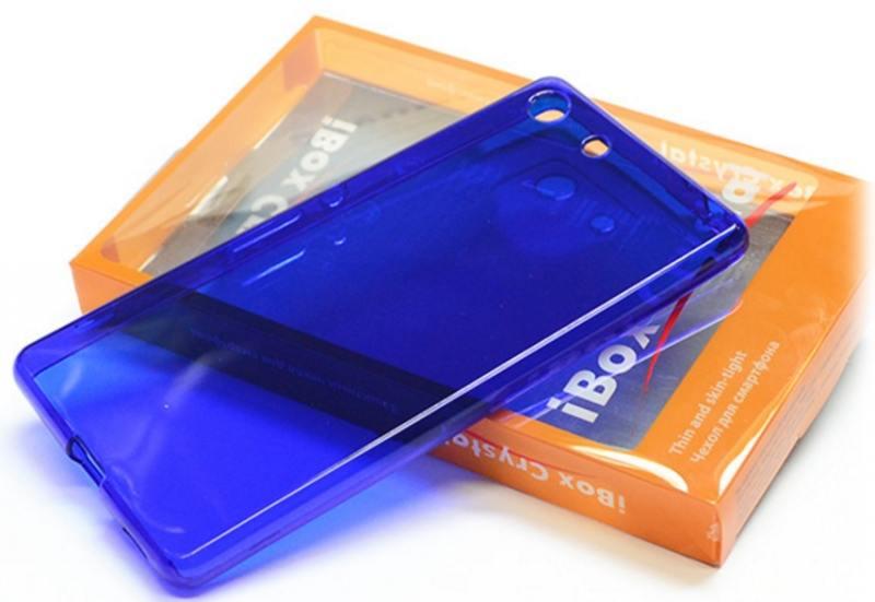 Чехол-накладка для Sony Xperia M5 iBox Crystal Blue клип-кейс, силикон чехол накладка для lg g4 stylus ibox crystal клип кейс прозрачный силикон