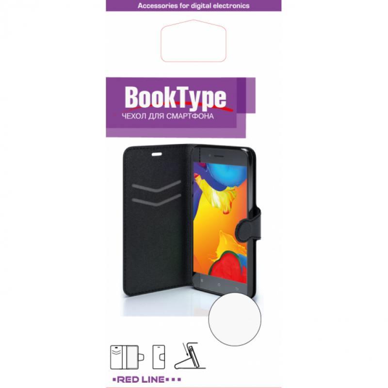цена Чехол-книжка Red Line Book Type для Sony M5 гладкий черный