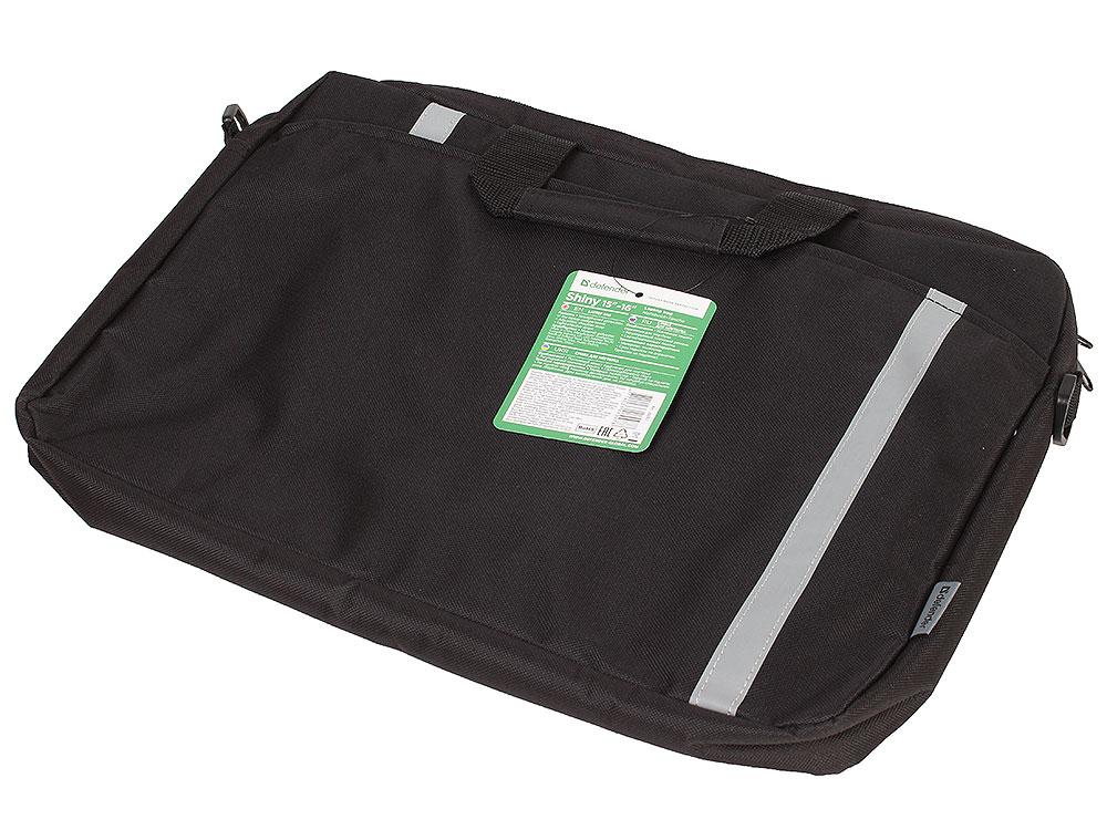 """Сумка для ноутбука Shiny 15''-16"""" черный, светоотражающая полоса DEFENDER"""