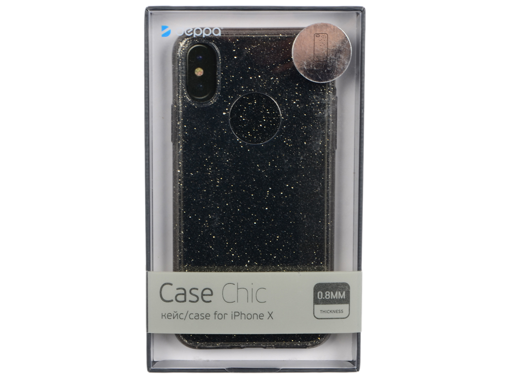 Чехол Deppa 85339 Chic Case для Apple iPhone X, черный кейс, полиуретан deppa art case чехол для apple iphone 6 6s jungle колибри