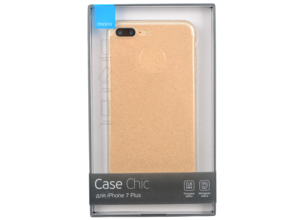 Чехол Deppa Chic Case для Apple iPhone 7 Plus / iPhone 8 Plus, золотой, 85300 deppa deppa art case new year для apple iphone 6 plus 6s plus рисунок олень защитная пленка