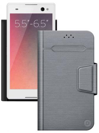 Чехол Deppa Чехол-подставка для смартфонов Wallet Fold L 5.5''-6.5'', серый, Deppa цена и фото