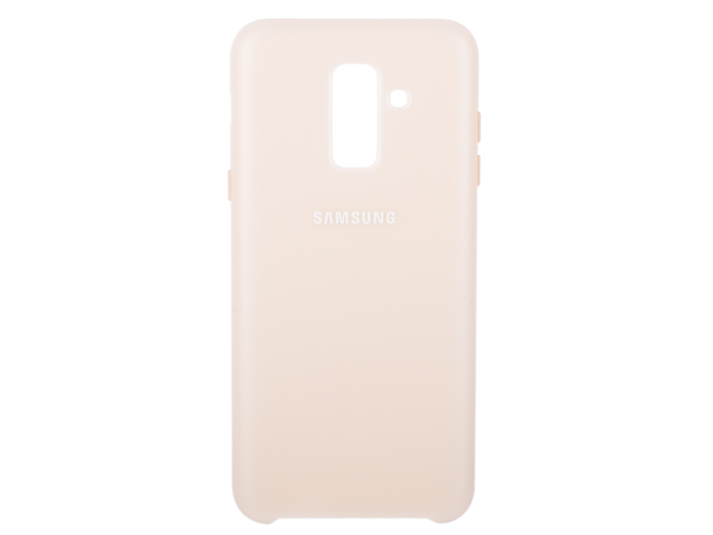 Чехол-накладка для Samsung Galaxy A6+ 2018 Samsung Dual Layer Cover Gold клип-кейс, полиуретан, поликарбонат клип кейс samsung galaxy a6 dual layer cover gold ef pa600cfegru