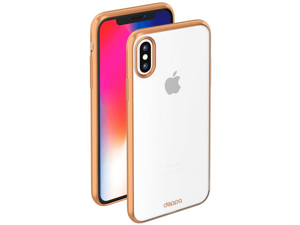 Фото - Чехол Deppa Gel Plus Case матовый для Apple iPhone X, золотой чехол для iphone 7 plus deppa art case star wars изгой альянс повстанцев