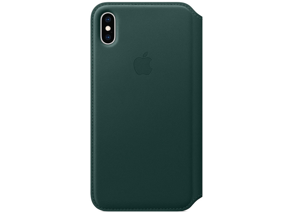Чехол-книжка для iPhone XS Max Apple Leather Folio Forest Green флип, кожа чехол книжка apple leather folio для iphone xs чёрный mrww2zm a