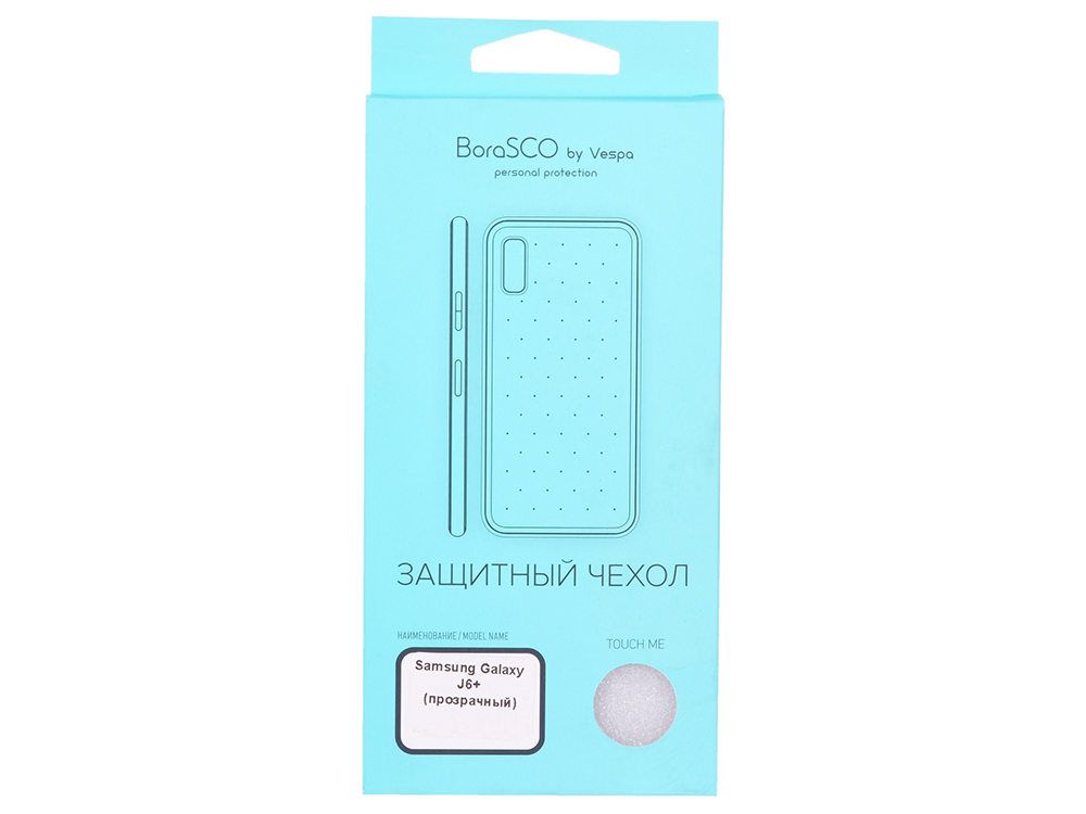 Чехол-накладка для Samsung Galaxy J6+ BoraSCO клип-кейс, прозрачный силикон клип кейс oxy fashion fine для samsung galaxy j5 2016 прозрачный