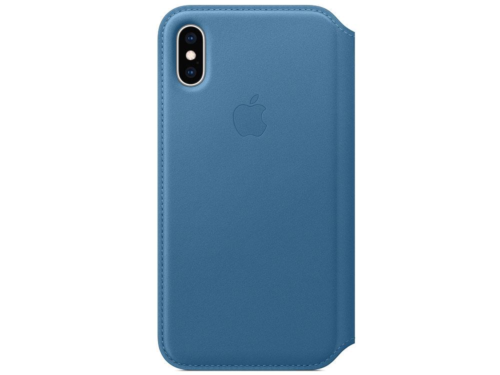 Чехол для смартфона Apple Leather Folio MRX02ZM/A для iPhone XS - Cape Cod Blue чехол книжка для iphone xs max leather folio cape cod blue флип кожа