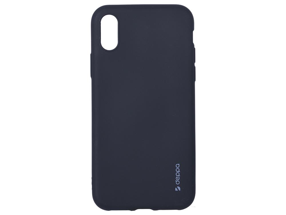 Чехол Deppa Case Silk для Apple iPhone X/XS, черный металлик стоимость