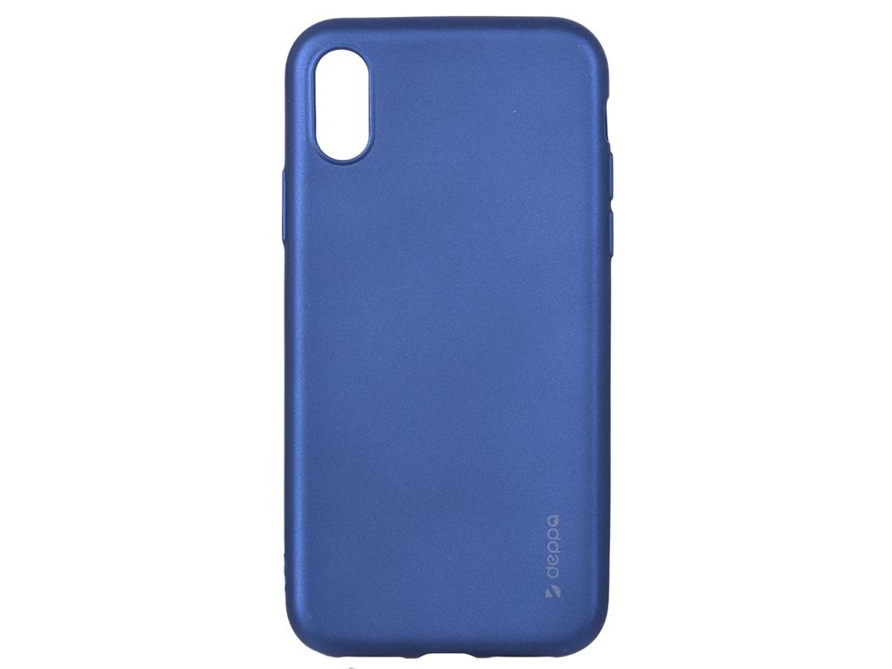 Чехол Deppa Case Silk для Apple iPhone X/XS, синий металлик цена и фото
