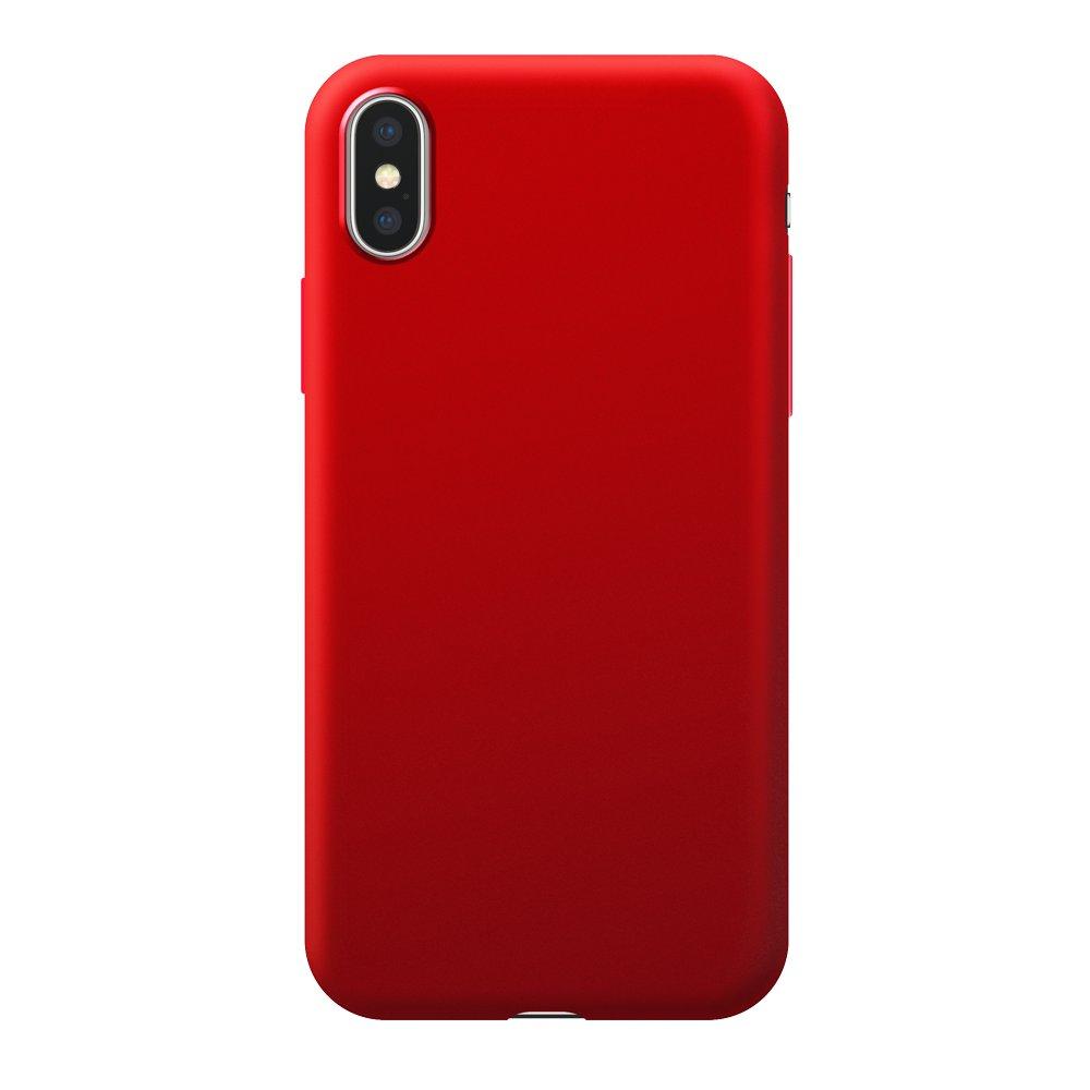 Чехол Deppa Case Silk для Apple iPhone X/XS, красный металлик чехол клип кейс deppa anycase для apple iphone x красный [140050]