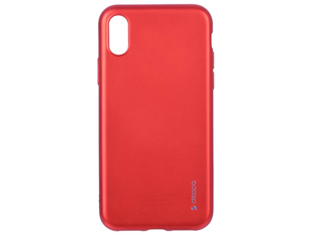 Чехол Deppa Case Silk для Apple iPhone X/XS, красный металлик deppa art case чехол для apple iphone 5 5s танки эмблема