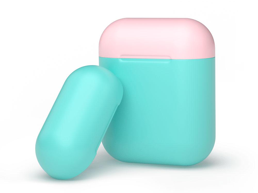 Силиконовый чехол Deppa для AirPods, двухцветный (мятный/розовый) силиконовый чехол для airpods синий deppa