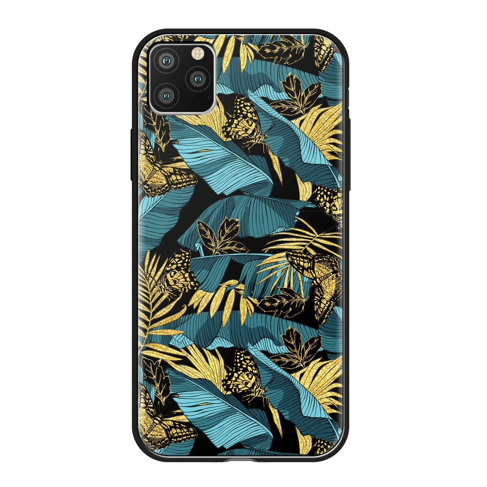 Чехол для смартфона для Apple iPhone 11 Pro Deppa Glass Case 87254 w/print клип-кейс, полиуретан, поликарбонат, стекло flower print card case