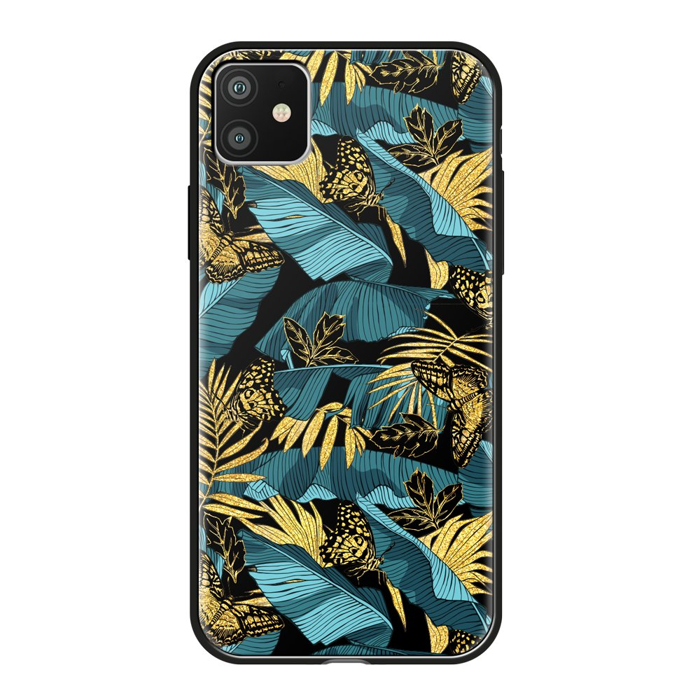 Чехол для смартфона для Apple iPhone 11 Deppa Glass Case 87261 w/print клип-кейс, полиуретан, поликарбонат, стекло flower print card case