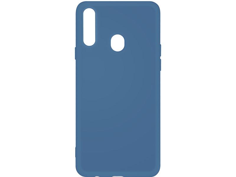 Чехол-накладка для Samsung Galaxy A20s DF sOriginal-05 Blue клип-кейс, силикон, микрофибра аксессуар чехол df для samsung galaxy a10s soriginal 04 blue