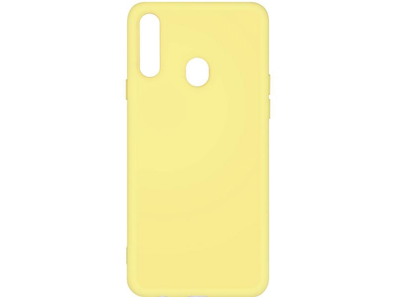 Силиконовый чехол с микрофиброй для Samsung Galaxy A20s DF sOriginal-05 (yellow) клип-кейс, силикон, микрофибра аксессуар чехол df для samsung galaxy a10s soriginal 04 blue