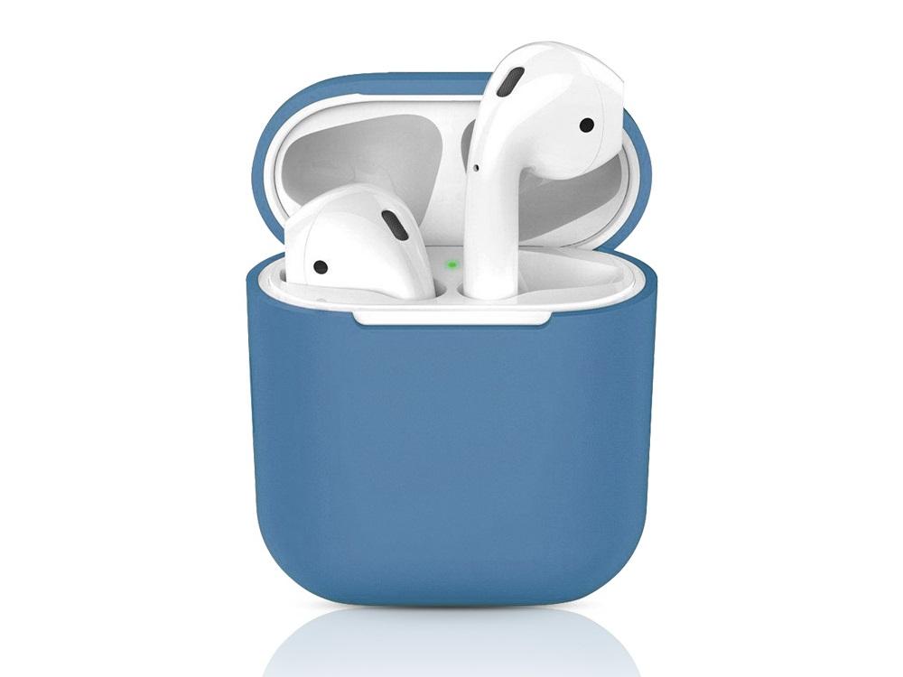 Чехол для гарнитуры для Apple AirPods 1/2 DF iAir-01 Blue клип-кейс, полиуретан крепление для airpods earhook nightglow blue 2 шт