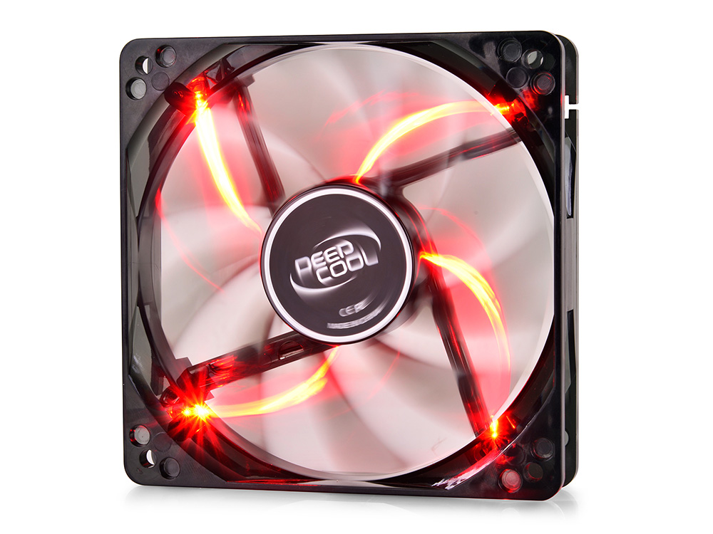 Вентилятор Deepcool WIND BLADE 120 Red 120x120x25 3pin 27dB 1300rpm 119g красный LED вентилятор для корпуса deepcool wind blade 80 wind blade 80