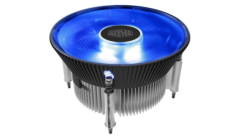 Кулер для процессораCooler Master CPU Cooler RR-I70C-20PK-R1, Intel 115*, 95W, Blue LED Fan, Al, 3pin / RR-I70C-20PK-R1 / cooler master mastergel maker mgz ndsg n15m r1 шприц 4 гр