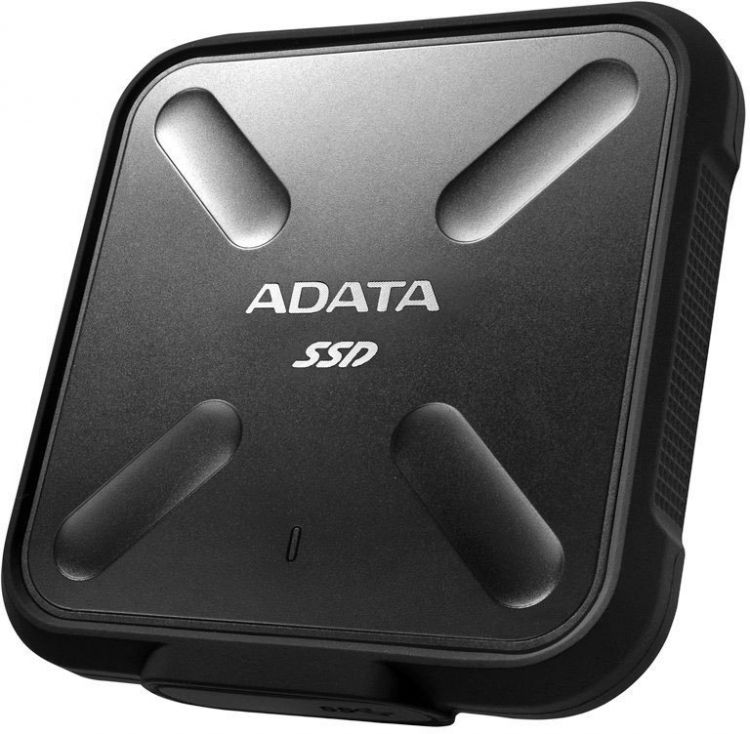 Внешний жесткий диск 1Tb SSD Adata SD700 Series ASD700-1TU31-CBK черный (USB3.1, 440/430Mbs, 3D TLC, 84х14х84mm, 80g) внешний ssd накопитель 1 8 256gb a data sd700 asd700 256gu3 cyl ssd usb 3 1 type c желтый