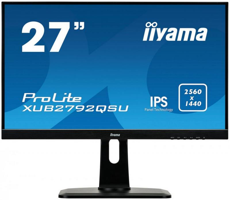 Монитор iiYama XUB2792QSU-B1 27 Black 2560x1440/IPS/75Hz/5ms/DVI, DP, HDMI, USBhub, Speaker, VESA монитор 24 nec multisync ea244wmi bk black ips led 1920x1200 5ms vga dvi hdmi displayport usb