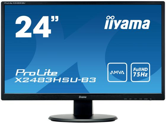 Монитор Iiyama 24 ProLite X2483HSU-B3 черный VA LED 4ms 16:9 DVI HDMI матовая 3000:1 250cd 178гр/17 монитор iiyama 21 5 prolite tf2234mc b5x черный ips led 8ms 16 9 hdmi матовая 250cd 178гр 178гр 1920x1080 d sub displayport fhd usb touch