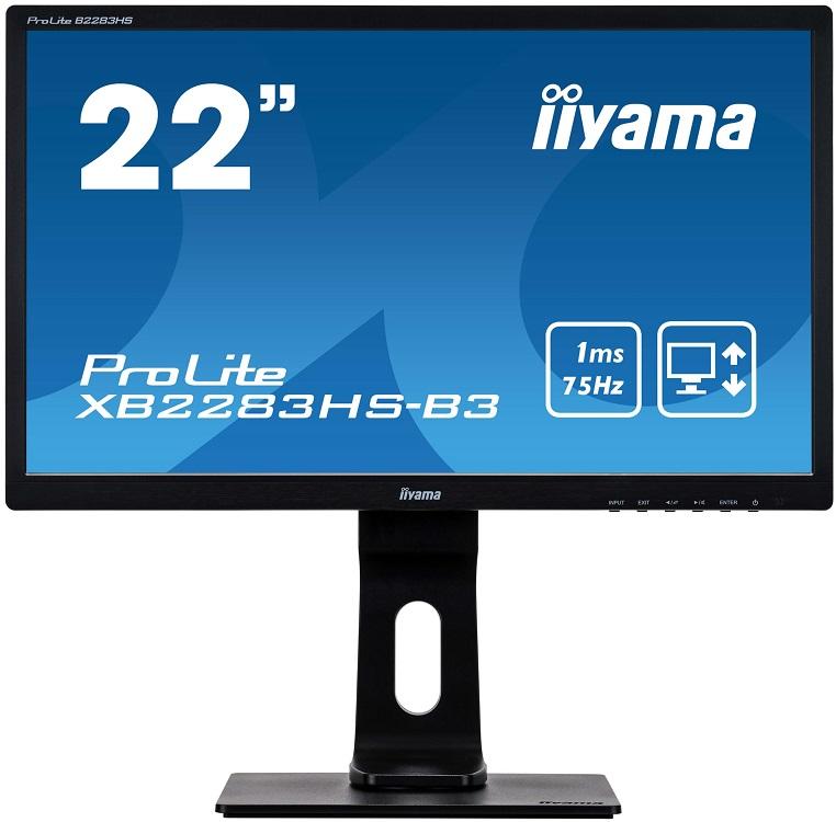 Монитор iiYama ProLite XB2283HS-B3 22 Black 1920x1080/VA/75Hz/4ms/VGA (D-Sub), DP, HDMI, Speaker, VESA монитор iiyama xb2472hsuc b1 24 black 1920x1080 va 75hz 8ms vga d sub dvi dp usbhub speaker vesa