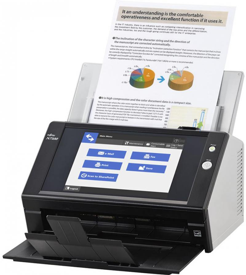 Сканер Fujitsu N7100 протяжный А4 600x600 dpi CIS 25ppm PA03706-B001 scansnap n7100