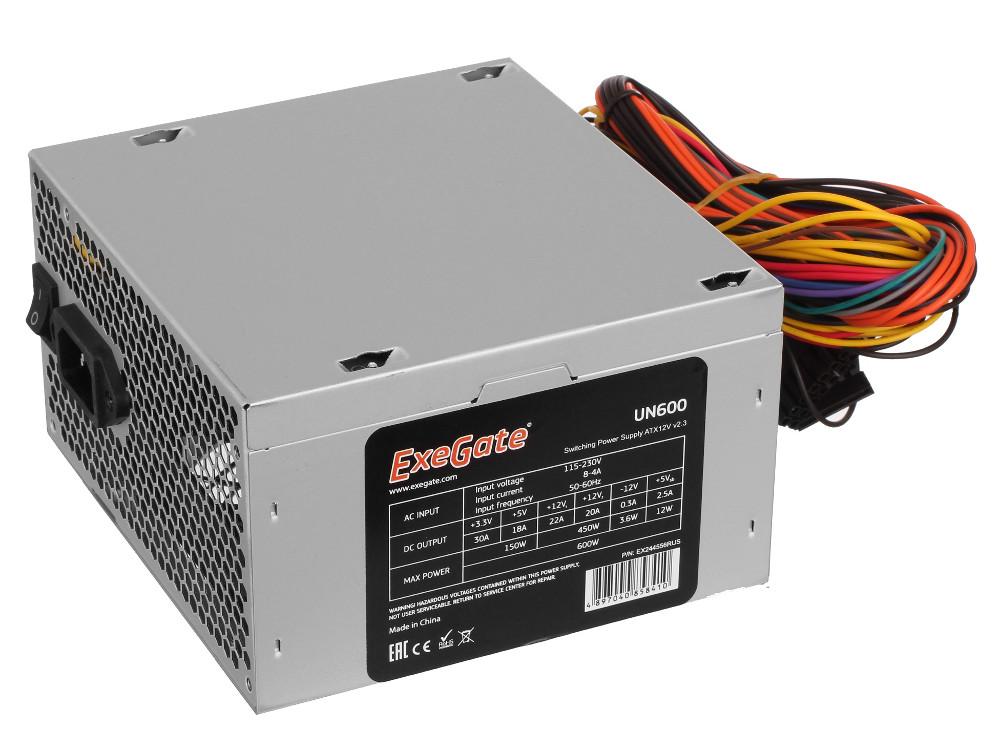 Блок питания ATX 600 Вт Exegate UN600 ATX 12В 2.3 цена и фото