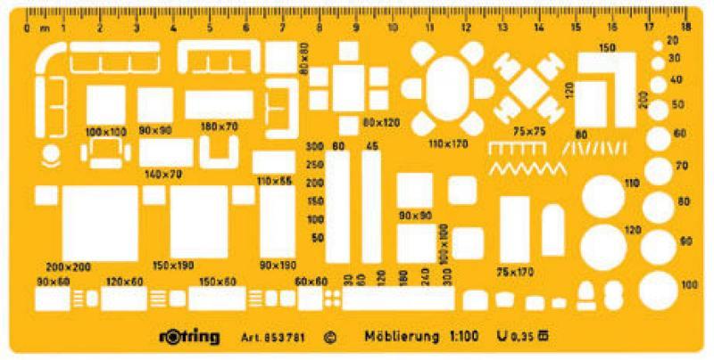 Шаблон дизайнерский Rotring Furniture 190x95x11мм мастшаб 1:100 пластик желтый furniture 0 interest