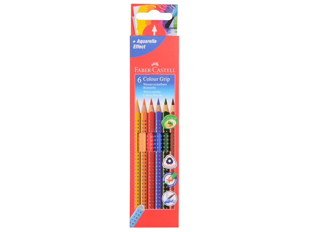 Карандаши цветные Faber-Castell Grip 2001 6 цветов 112406 faber castell акварельные карандаши рыбки с кисточкой 36 шт