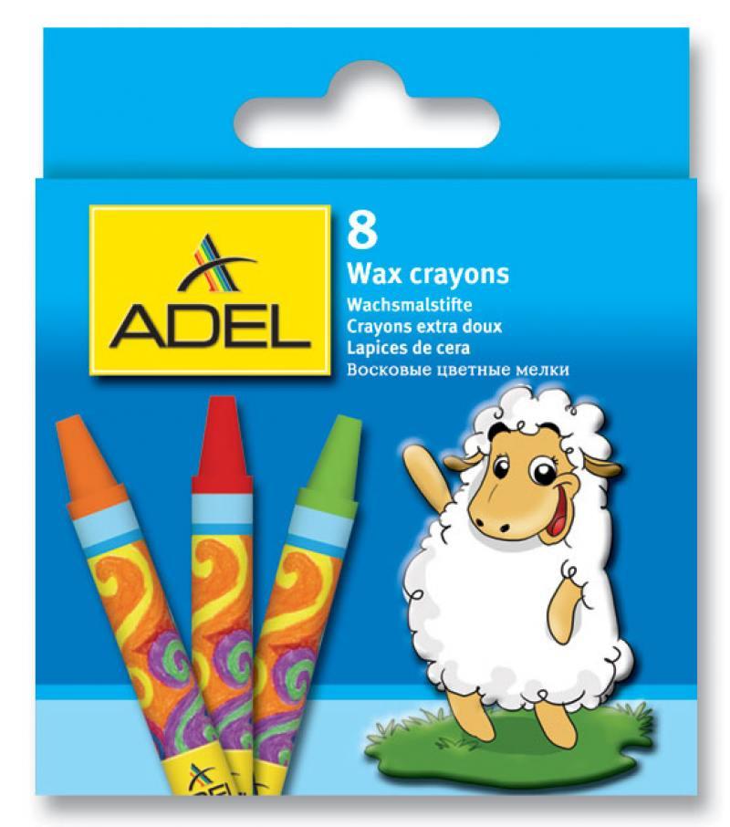 Восковые мелки Adel круглые 10 мм 8 штук 8 цветов от 3 лет 228-2814-000 восковые мелки луч фантазия 12 штук 12 цветов от 3 лет 25с1520 08