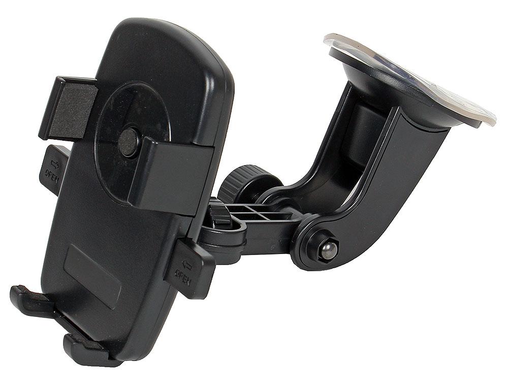 Автодержатель Perfeo-502 для смартфона/навигатора/ до 5/ на стекло/ One touch/ черный perfeo ph 518 3 автодержатель для смартфона до 6 5 на воздуховод магнитный черный красный pf a4462