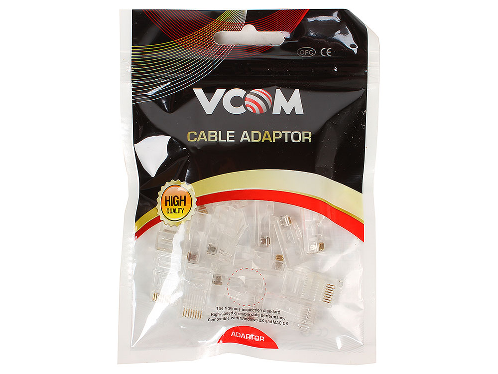 Коннекторы RJ-45 (8P8C) для UTP кабеля 5 кат. VCOM VNA2200-1/20 20 шт в пакете коннекторы rj 45 8p8c для utp кабеля 5 кат aopen aopen anm005 vcom vna2200 100 шт в пакете