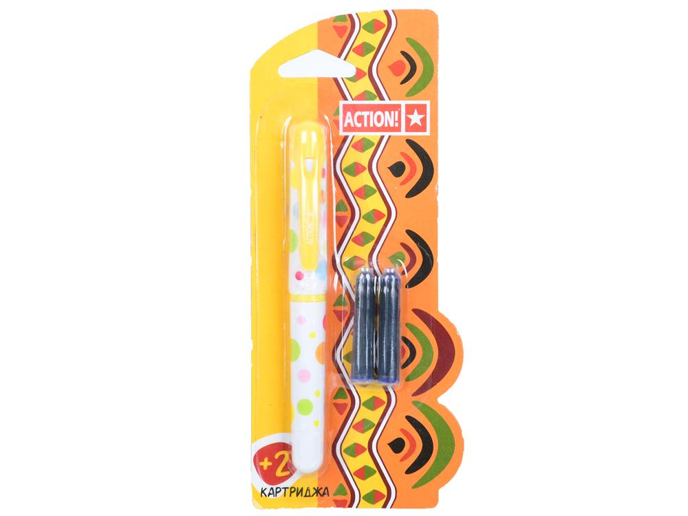 Перьевая ручка ACTION!, син. чернила, 2 картриджа в комплекте, блистер цены онлайн