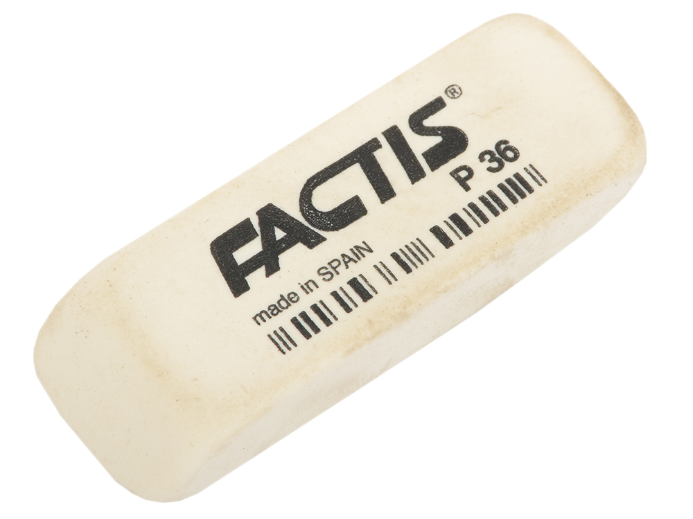 Ластик FACTIS мягкий скошенный, из непрозрачного пластика, размер 56х19,5х9 мм все цены