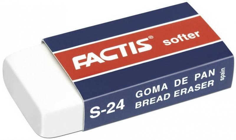 Ластик FACTIS мягкий из синтетического каучука, в картонном держателе, размер 50х23,5х9,5 мм