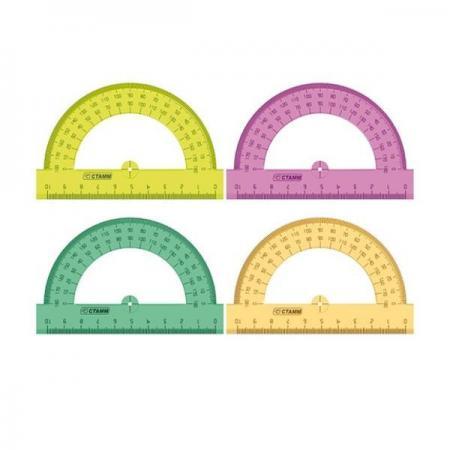 Транспортир цветной, флюоресц., прозрачный, 4 цв., 10 см цены онлайн