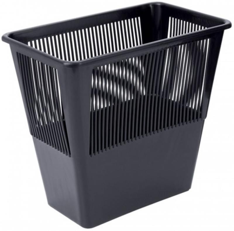 Корзина для бумаг, сетчатая, черная, прямоугольная, 12 литров корзина для бумаг цельнолитая черная 18 литров
