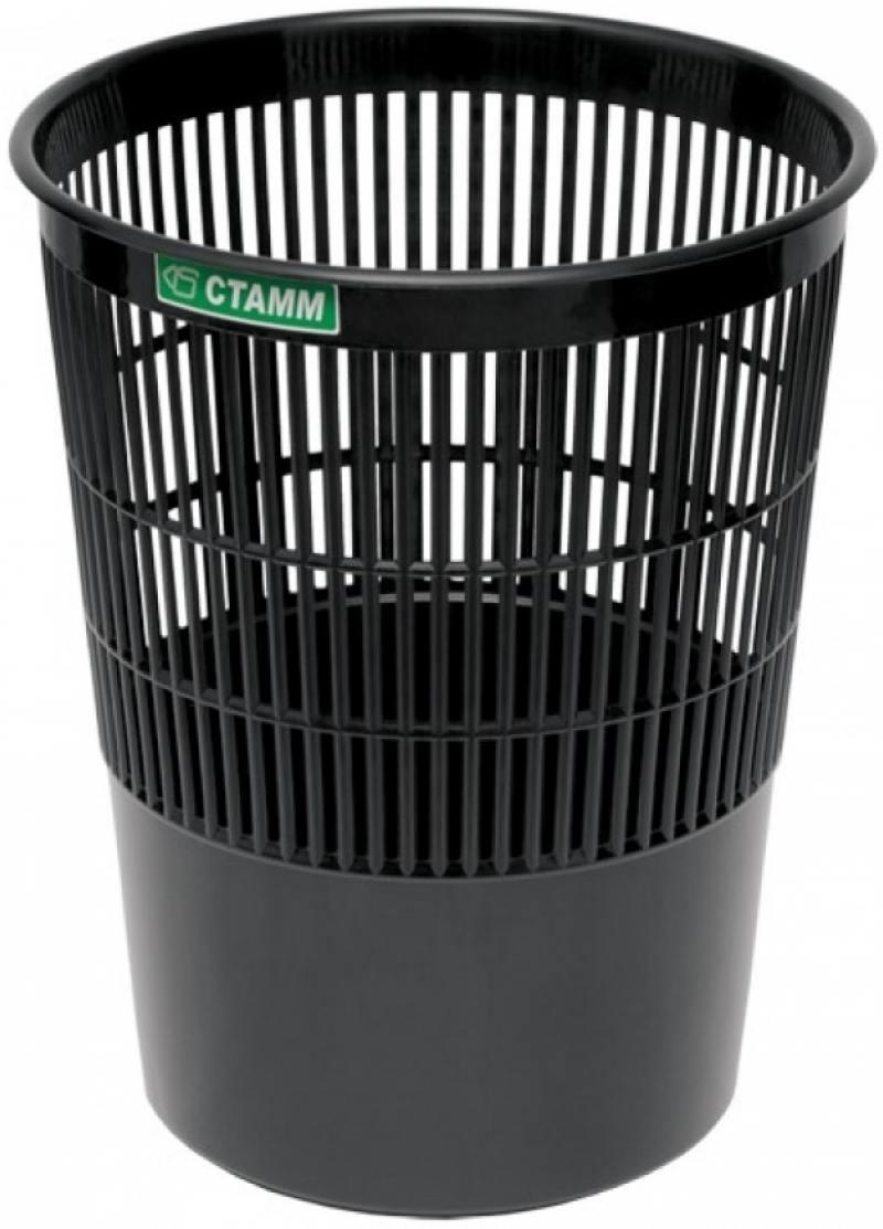 Корзина для бумаг, сетчатая, черная, 14 литров корзина для бумаг цельнолитая черная 18 литров