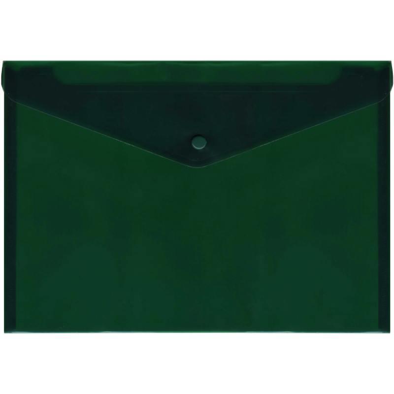 Папка-конверт с кнопкой, полупрозрачный, зеленый, A4
