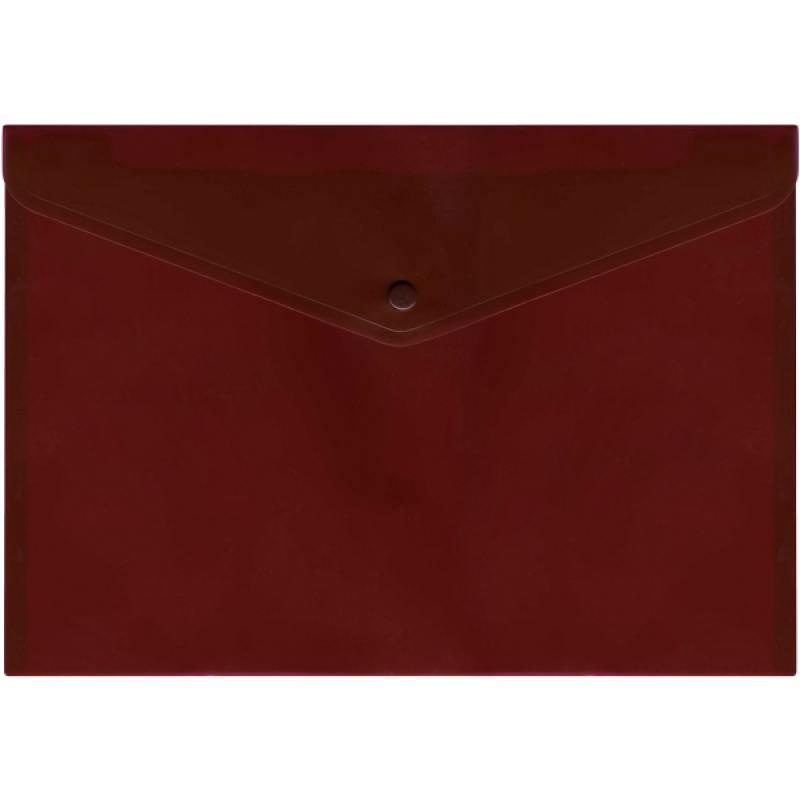 Папка-конверт с кнопкой, полупрозрачный, красный, A4