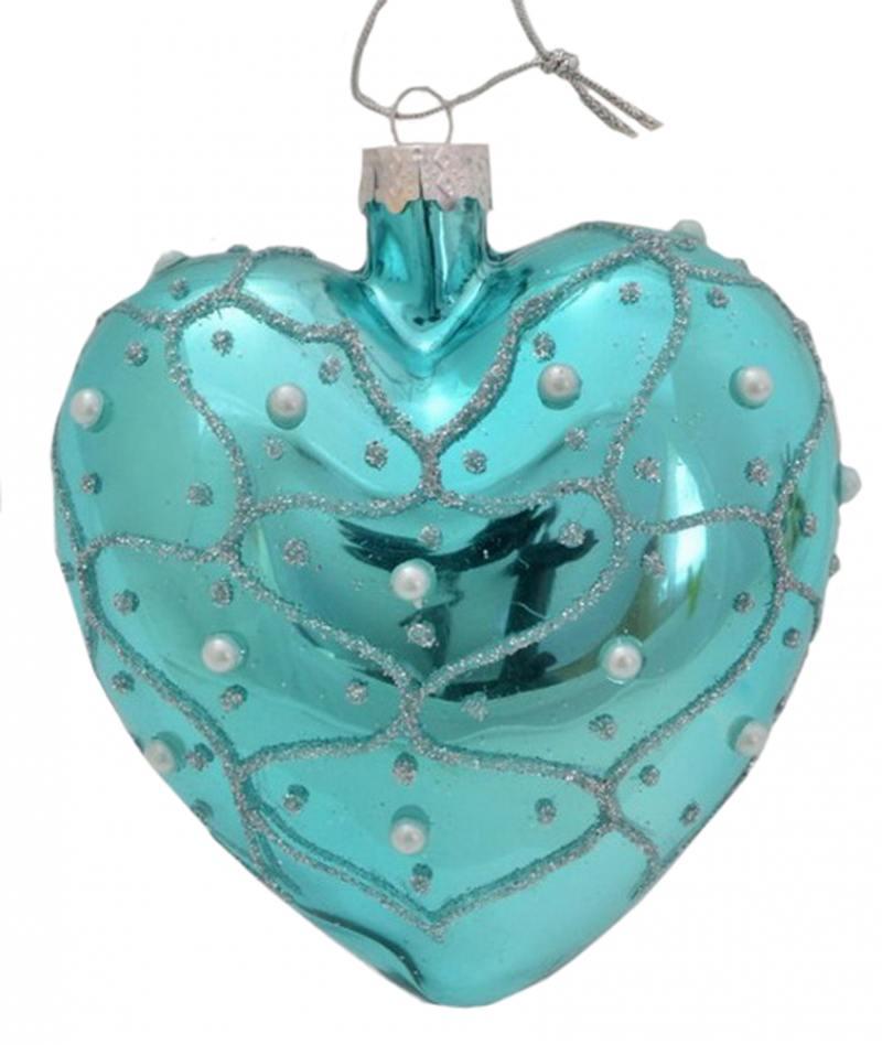 Украшение Winter Wings Сердце Жемчужная Волна 10 см 1 шт Бирюзовый стекло N07710