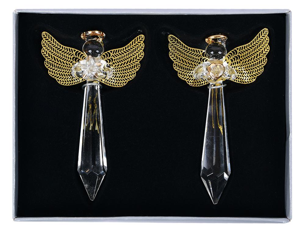 Елочные украшения Winter Wings Ангел 11 см 2 шт прозрачный стекло N07730 цена и фото