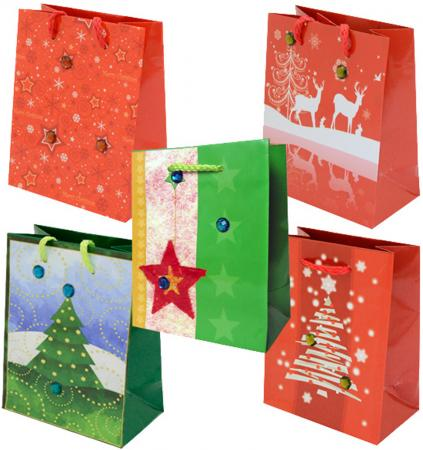 Пакет подарочный бумажный ламинированный, 111х137х62 мм, со стразами N13661 пакет подарочный winter wings бумажный ламинированный люкс 32х26х12 см