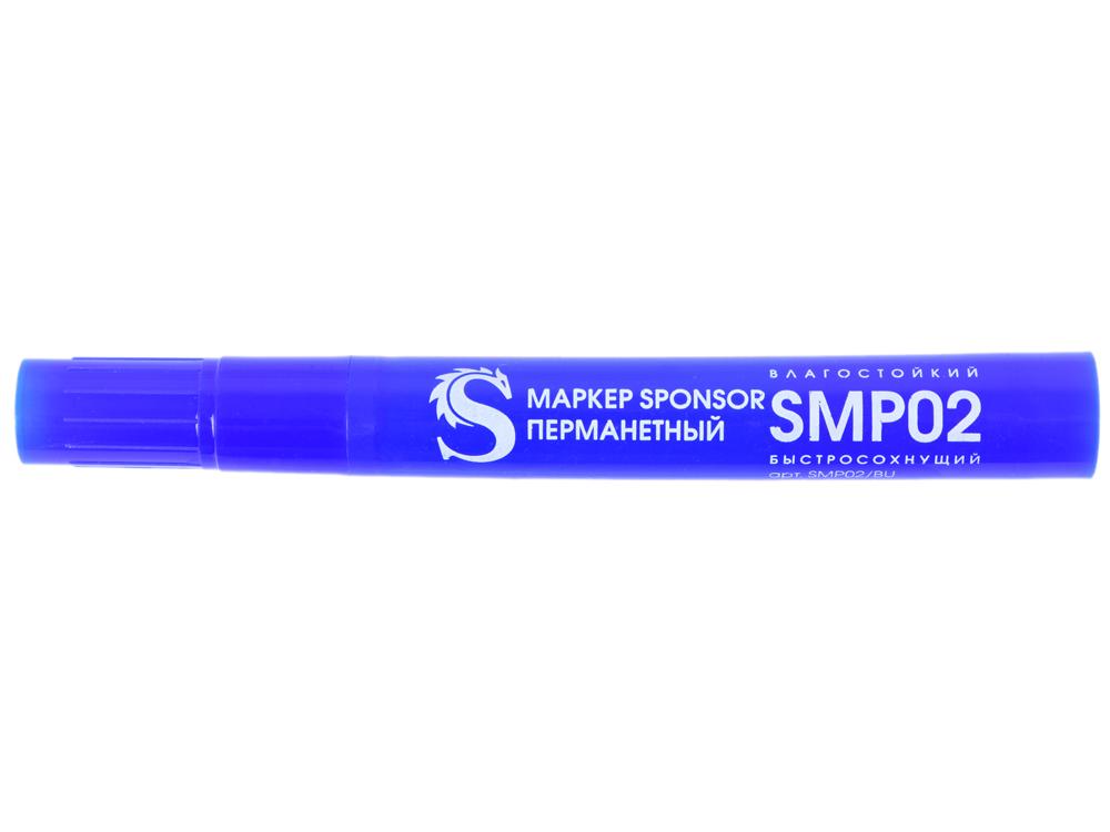 Маркер перманентный SPONSOR SMP02/BU 2 мм синий SMP02/BU officespace маркер перманентный двухсторонний цвет синий
