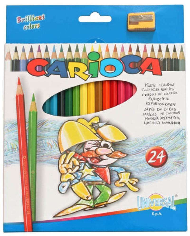 Набор цветных карандашей Universal Carioca 24 шт 17.5 см односторонние 40381 + точилка 40381 carioca набор экстра крупных восковых карандашей baby 10 цветов точилка