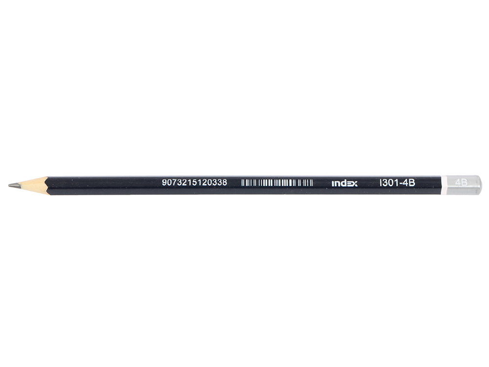 Карандаш графитовый Index I301-4B черный корпус цена